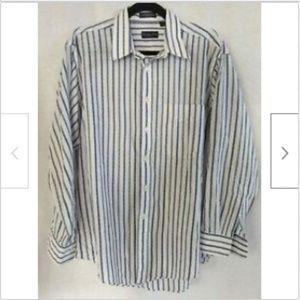 Christian Dior blue striped button shirt 17/34